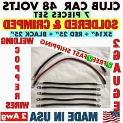 # 2 Awg HD Golf Cart Battery Cable 7 pc Set Club Car 48 Volt