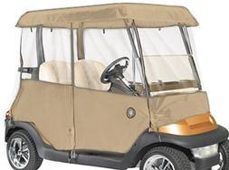 2 Passenger Drivable Golf Cart Enclosure in Tan