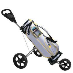 3 Wheel Foldable Golf Carts Push-pull Trolley Scorecard Drin