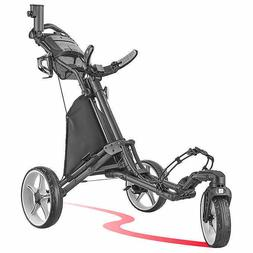 CaddyTek 3-wheel Golf Cart with Swivel Front Wheel Gray