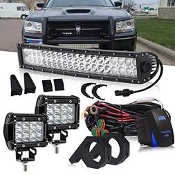 DOT 22 Inch 120W Curved LED light bar + 2PCS 4 In 36W Triple