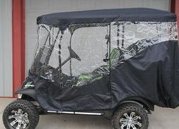 Black Rain Cover Enclosure for Lifted Golf Cart w long Roof
