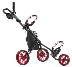 CaddyTek CaddyLite 11.5 V3 Deluxe Golf Push Cart, Black/Red