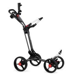Founders Club Deluxe 4 Wheel Qwik Fold Golf Push Cart plus F