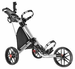 CaddyTek EZ-Fold 3 Wheel Golf Push Cart, Silver