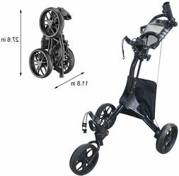 Hoveroid EZ Fold 3 Wheel Golf Push Cart Aluminum Structure G
