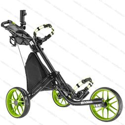 CaddyTek EZ-Fold 3 Wheel Golf Push Cart Golf Trolley --Lime