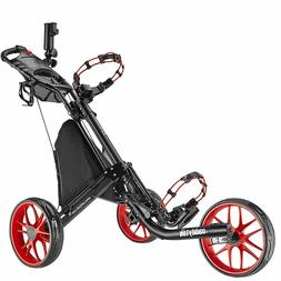 CaddyTek EZ-Fold 3 Wheel Golf Push Cart Golf Trolley  -- Red