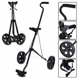 Foldable 2 Wheel Push Pull Golf Club Cart Trolley Swivel Ste
