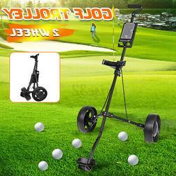 Foldable 2 Wheel Push Pull Golf Club Cart Trolley Swivel w/