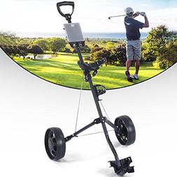 MD Group Foldable 2 Wheels Push Pull Golf Holder Trolley