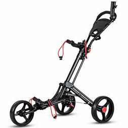 Foldable 3 Wheel Golf Pull Push Cart Trolley w/ Umbrella Sco