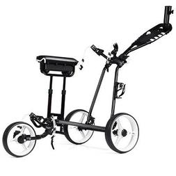 Foldable 3 Wheel Push Pull Golf  Club Cart Trolley w/Stool S