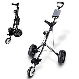 Folding Pull Push Golf Cart 3 Wheel Trolley Swivel with Cup