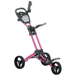 Spin It Golf Products GCPro2-Pnk 3 Wheel Golf Push Cart,