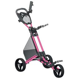 Spin It Golf Products GCPro2-Pnk 3 Wheel Golf Push Cart Pink