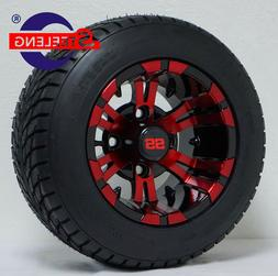 """GOLF CART 10"""" RED-BLK VAMPIRE WHEELS and 205/50-10 DOT LOW P"""
