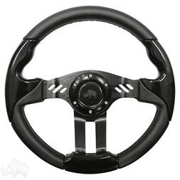 Golf Cart Aviator 5 Black Grip/Black Spokes Steering Wheel