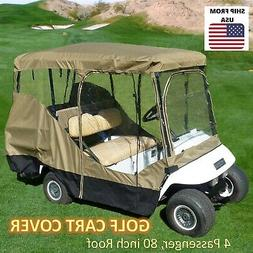 """Golf Cart Driving Enclosure for 4 Passengers roof up to 80""""L"""