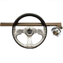 CLUB CAR GOLF CART STEERING WHEEL W/ SS COLUMN COVER AND ADA