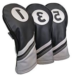 Majek Golf Headcovers Black and White Leather Style 1, 3, 5