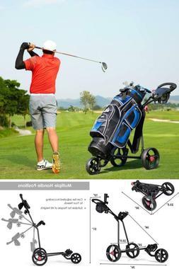 Tangkula Golf Push Cart, 3 Wheels Folding Lightweight Golf C