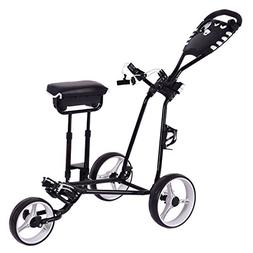 Tangkula Golf Push Pull Cart w/ 3 Wheels Golf Trolley with S
