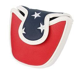 PINMEI USA White Red Blue Star Mallet Putter Cover Golf Putt