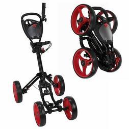 Caddymatic Golf Quad 4-Wheel Folding Golf Pull / Push Cart B