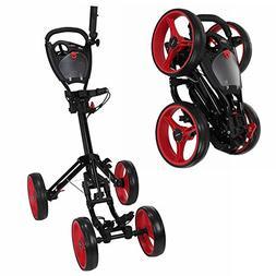 Caddymatic Golf Quad 4-Wheel Folding Golf Pull/Push Cart Bla