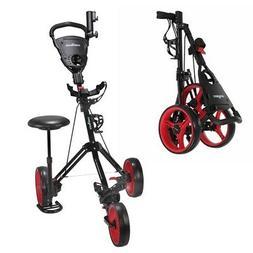 Caddymatic Golf X-TREME 3 Wheel Push/Pull Golf Cart with Sea