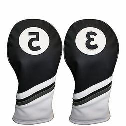 Majek Golf Headcover Black & White Leather Style 3 & 5 Fairw