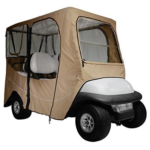 Classic Accessories Fairway Golf Cart Deluxe Enclosure, Khak