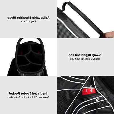 Golf Stand Club Carry Pockets Black