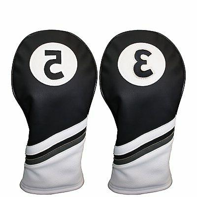 headcover black and white leather style 3