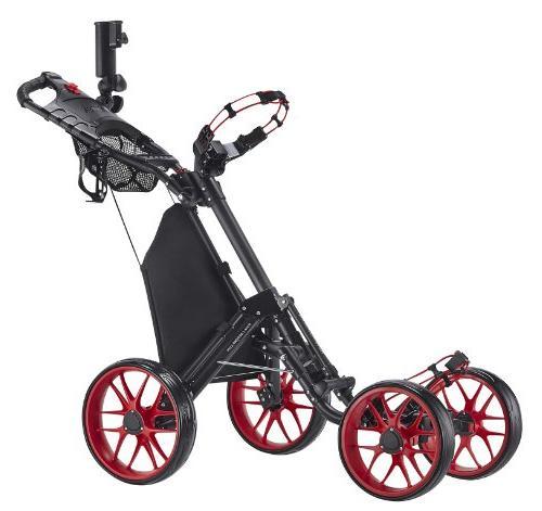 CaddyTek One-Click 4 Wheel 3 Golf Push Red