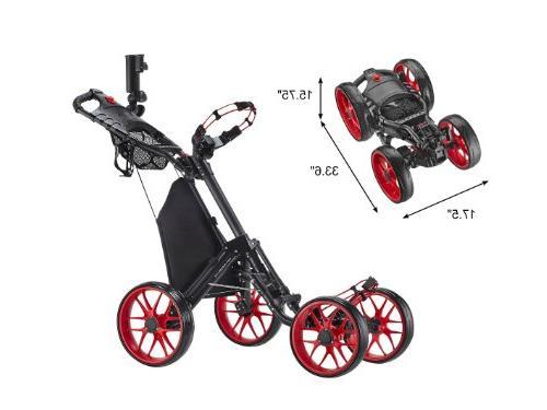 CaddyTek Folding 4 Wheel 3 Push Red