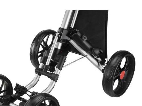 CaddyTek One-Click Folding Wheel 3 Golf Push Cart, Red