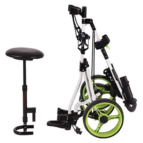 Tangkula Swivel Foldable Wheel Pull Golf Trolley with Seat Scoreboard Bag Golf