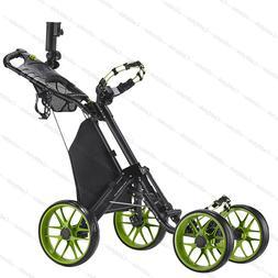 CaddyTek One-Click Folding Golf trolley 4 Wheel Push/Pull Ca