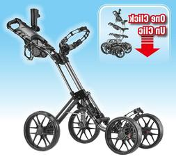 Open Box Black Caddytek Explorer One-Click 4-Wheel Golf Push