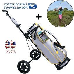 PRO 2 Wheel Golf Trolley Cart & Golf Training Pole Equipment