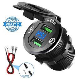 Quick Charge 3.0 Car Charger, CHGeek 12V/24V 36W Waterproof