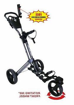 QWIK-FOLD 360 Swivel 3 Wheel Push Pull Golf Cart with 360 Ro