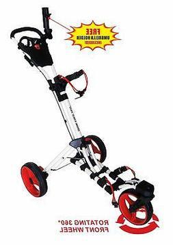 Qwik-Fold 360 Swivel 3 Wheel Push Pull Golf CART - 360 Rotat