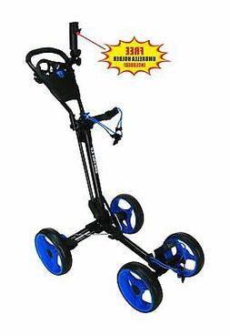 QWIK-FOLD 4 Wheel Folding Push Pull Golf Cart - Foot Brake -