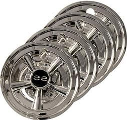 """3G Set  8"""" SS Chrome Wheel Covers for EZGO, Club Car and Yam"""