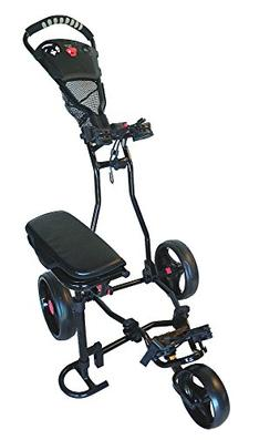 Founders Club Spider 3 Wheel Golf Push Cart with Seat - Blac