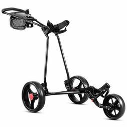 Tangkula Golf Push Cart 3 Wheels Folding Lightweight Golf Cl
