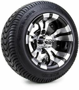 """10"""" Vampire Machined Black Golf Cart Wheels and Low Profile"""